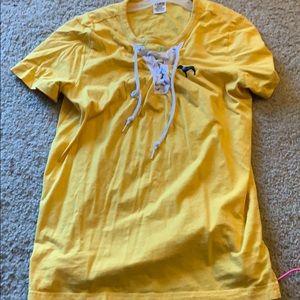 Pink shirt yellow